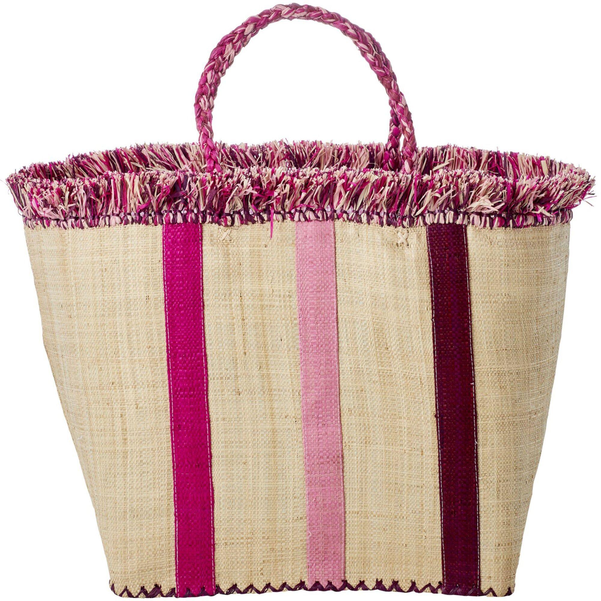 Rice Raffia Shoppingveske, Rosa