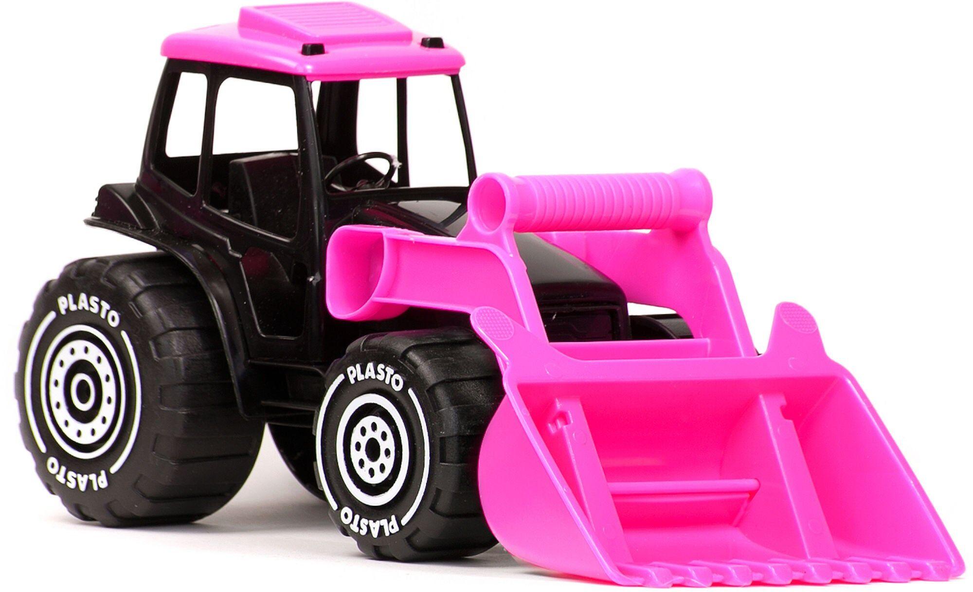 Plasto Traktor med Frontlaster, Svart/Rosa