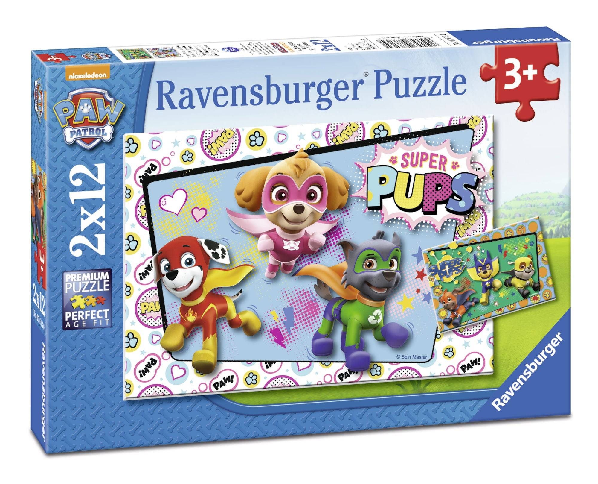 Ravensburger Puslespill Paw Patrol Super Pups In Action 2x12 Brikker