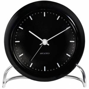 Arne Jacobsen -AJ Bordklokke Med Alarm, Sort, 11cm