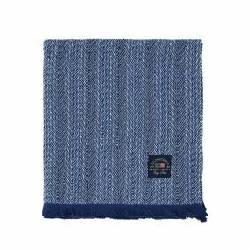 Lexington -Herringbone Cotton Pledd 130x170 cm, Blå