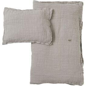 Garbo & Friends -Thyme Muslin Bedset 70x80 cm, Light Grey/Green