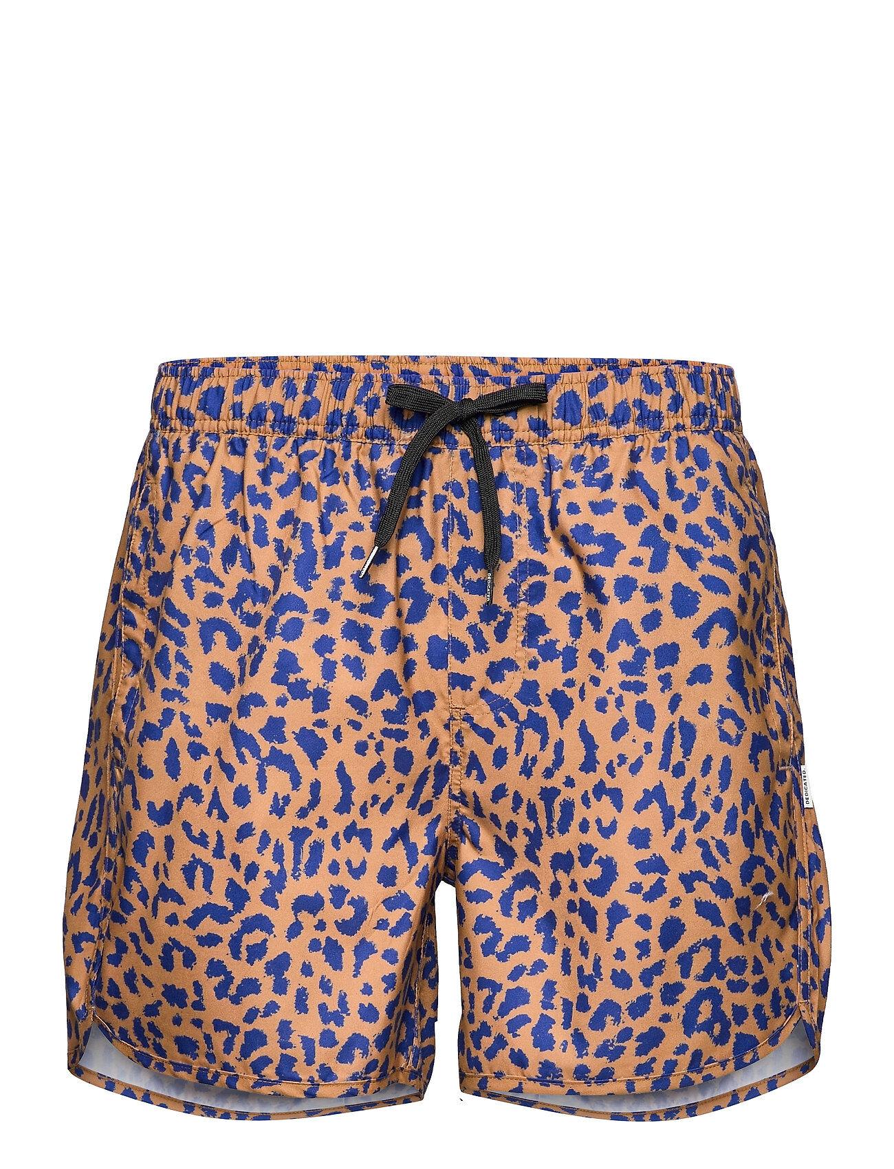 DEDICATED Swim Shorts Sandhamn Leopard Light Brown Badeshorts Brun DEDICATED