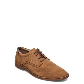 Tommy Hilfiger Dressy Stitch Down Suede Shoe Shoes Business Laced Shoes Brun Tommy Hilfiger