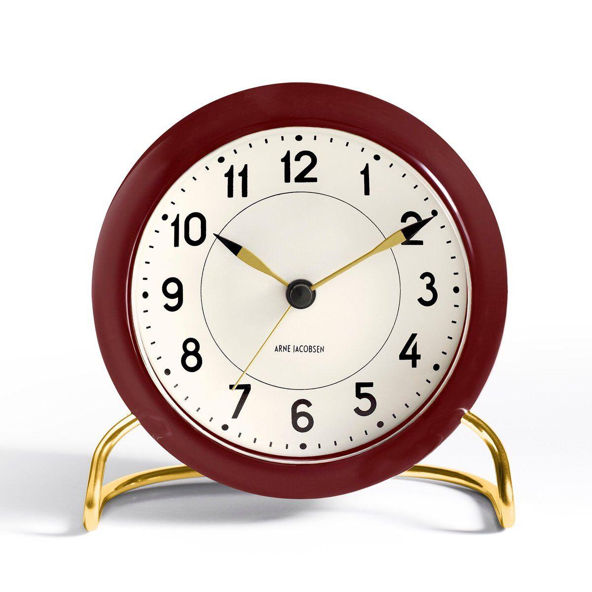 Arne Jacobsen Clocks AJ Station bordur vinrødt vinrød