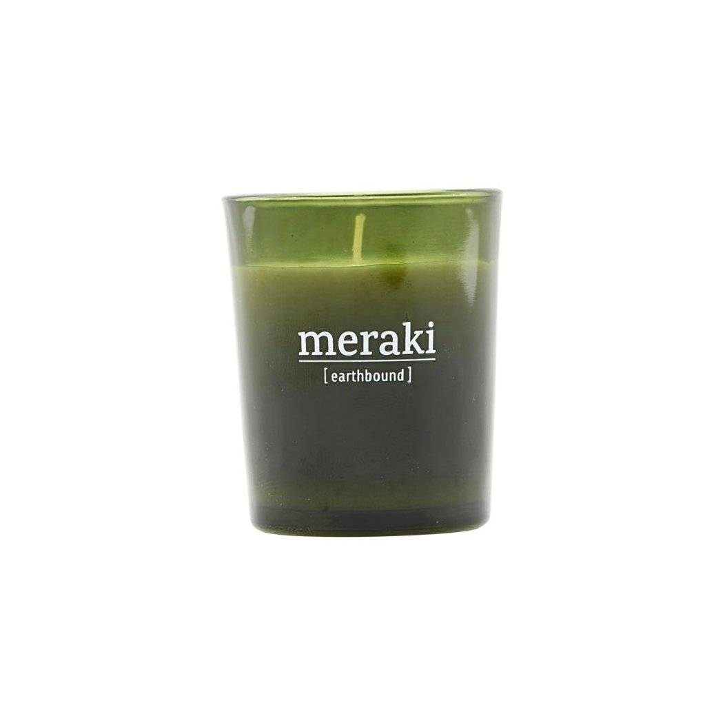 Meraki duftlys grønt glass 12 timer Earthbound