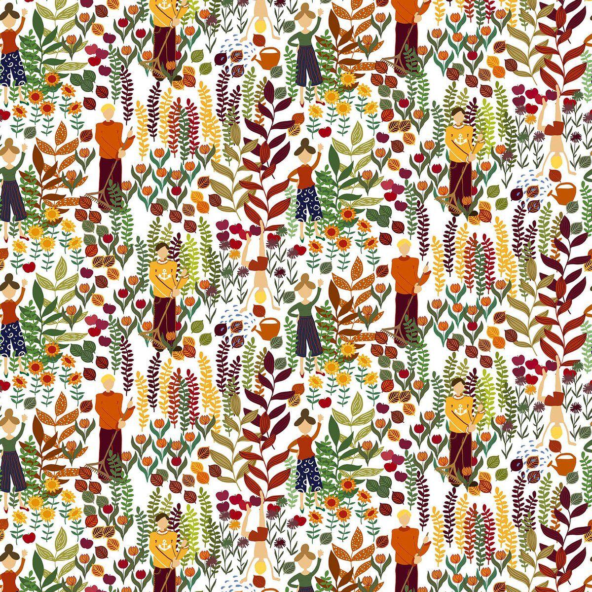 Arvidssons Textil Trädgård stoff Rust