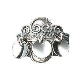 Bunadsølv ring, oksidert m. lauv artnr: 317 102