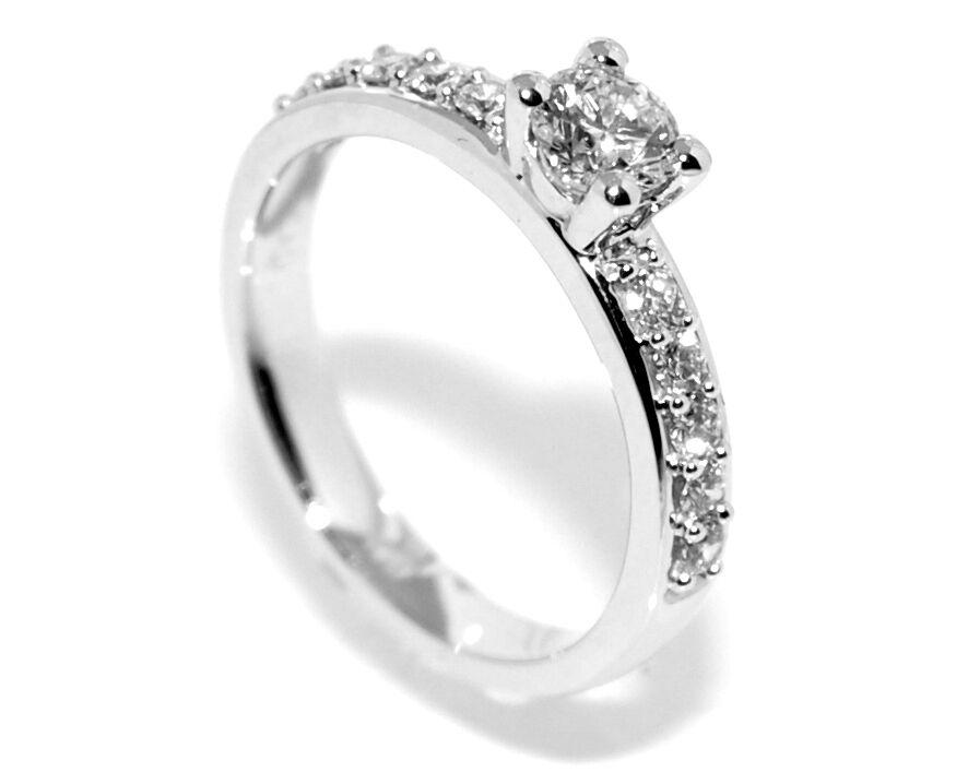Superdeal! Diamantring hvitt gull diamanter 0.65ct