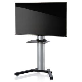StadinoMini gulvstativ til TV med V-fot og glasshylle sølvfarget, svart glass.