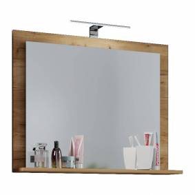 VCB10 Mini speilskap baderom , badespeil med 1 hylle og LED-lys honning eik dekor.