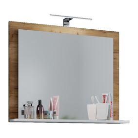 VCB10 Mini speilskap baderom , badespeil med 1 hylle og LED-lys honning eik dekorm hvit.
