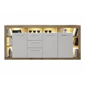 Rominia skjenk 3 dører, 2 skuffer, 8 hyller og 1 klaffdør, eik dekor, hvit, hvit høyglans.