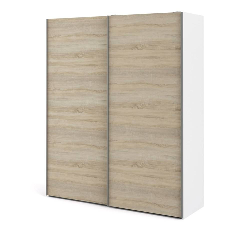 Veto garderobeskap A 2 dørs H220 cm x B182 cm hvit, eik struktur dekor.