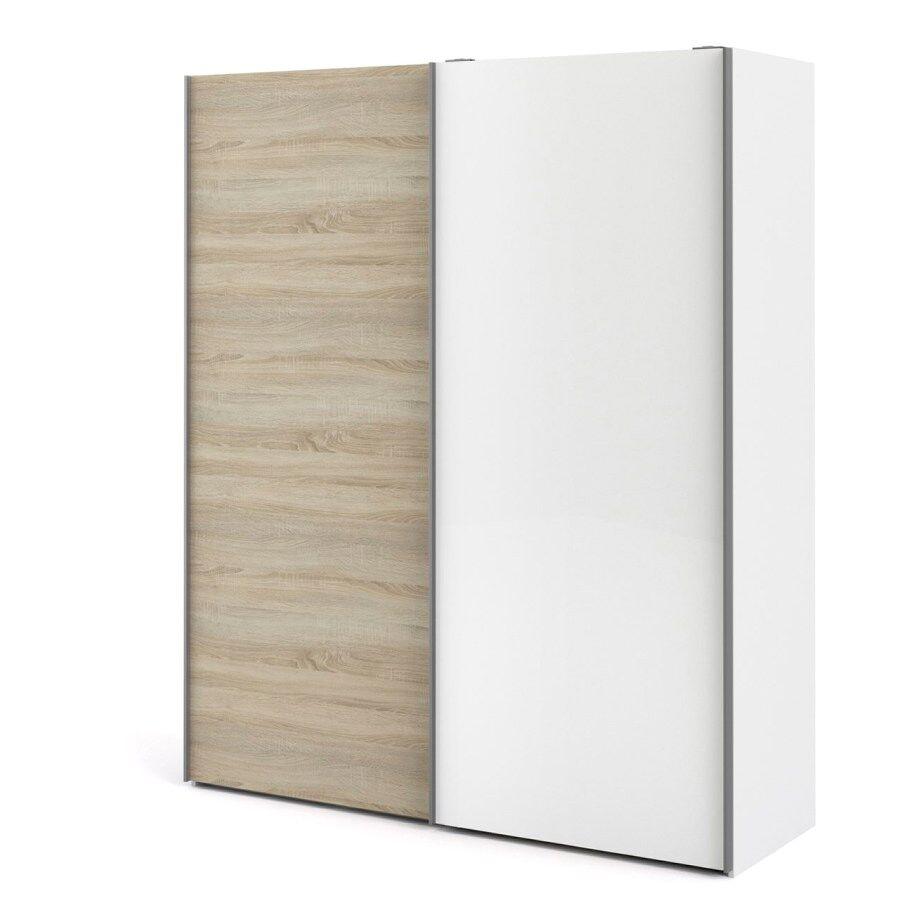 Veto garderobeskap D 2 dørs H220 cm x B182 cm eik struktur dekor, hvit.