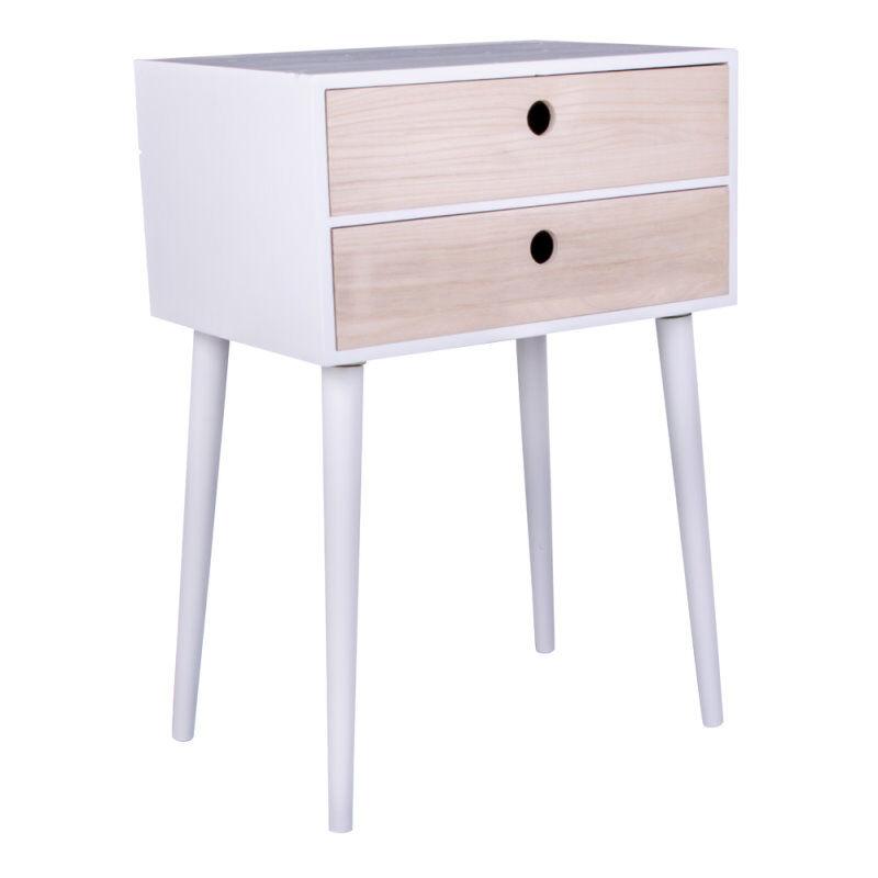 Ralf nattbord med 2 skuffer i natur og hvit.