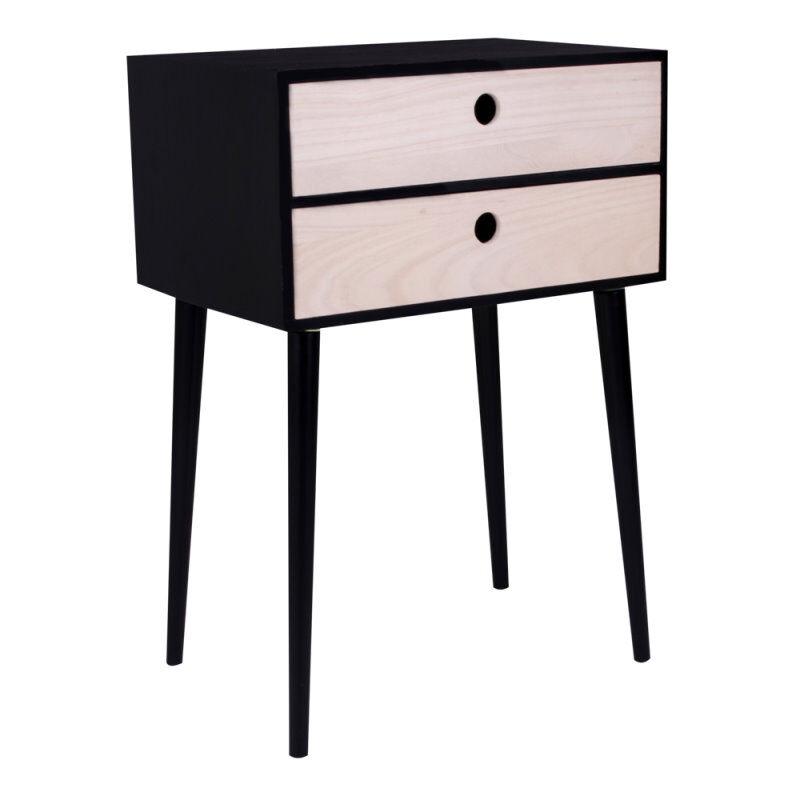 Ralf nattbord med 2 skuffer i natur og svart.