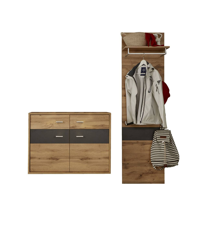 Coris garderobe oppstilling K, inkl 2xLED lys, eik dekor, grå.