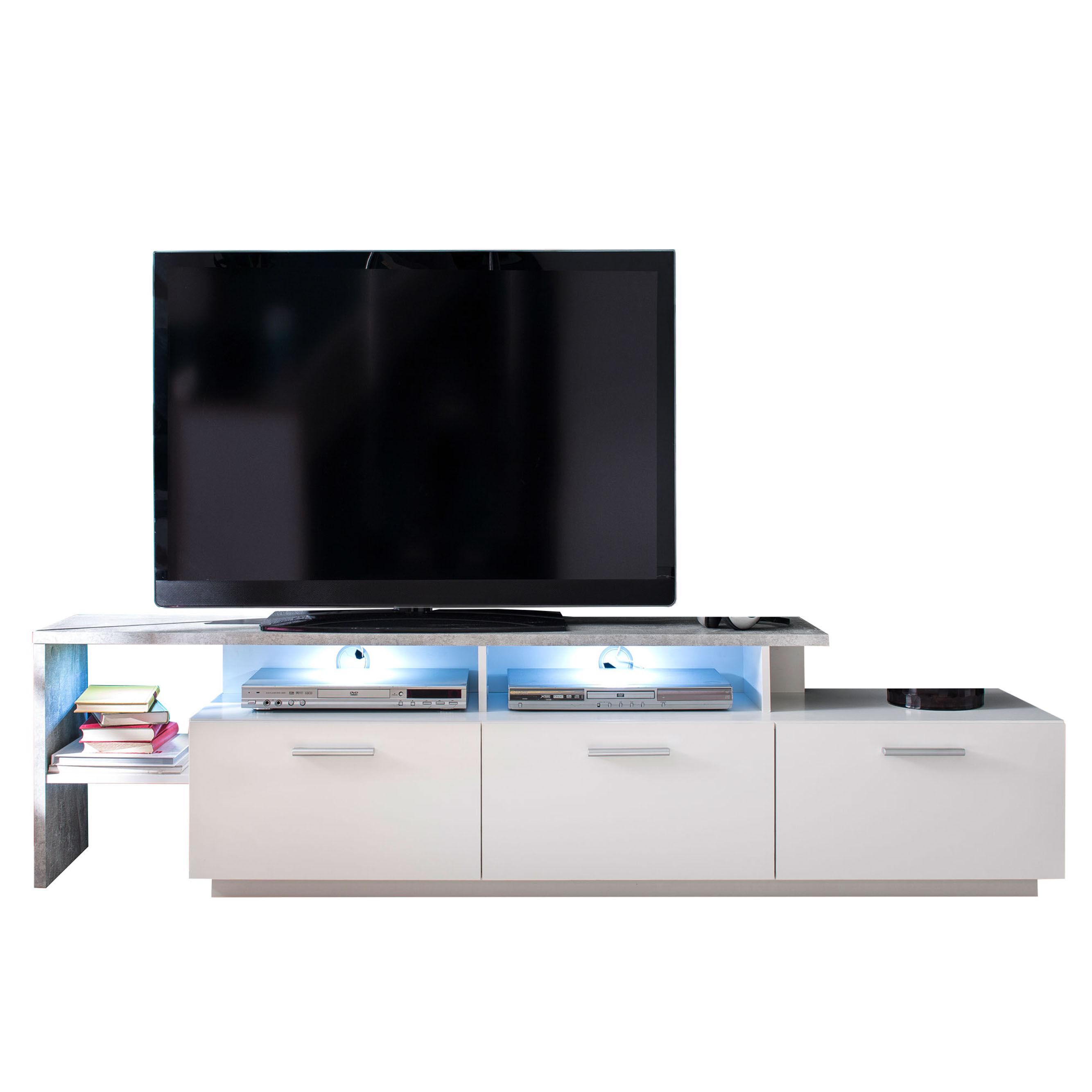 Stampe TV-bord 3 klaffdører, 3 hyller og inkl lys, hvit.