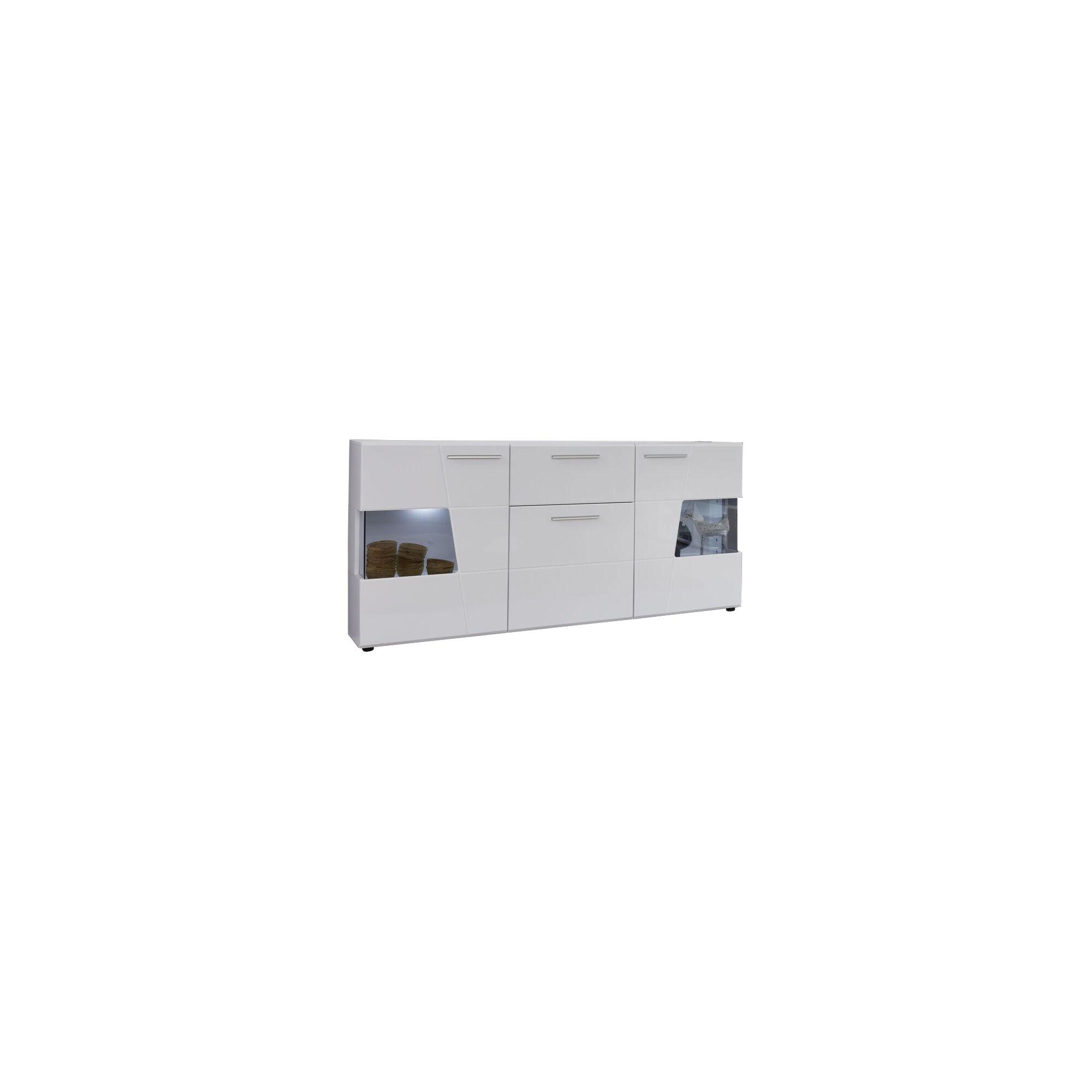Movar skjenk 3 dører og 1 skuff, hvit, hvit høyglans, glass grå.