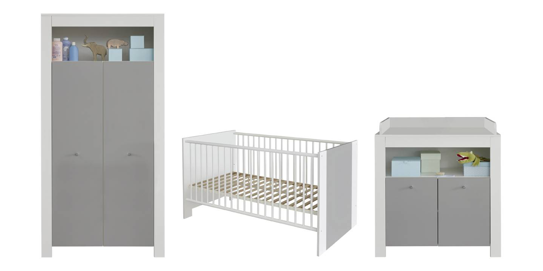Petrol barnemøbelsett, seng, skap og puslekommode, hvit og grå.