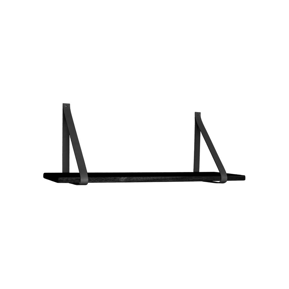 Foyle vegghylle 80x20 cm svart, skinnstropper svart.