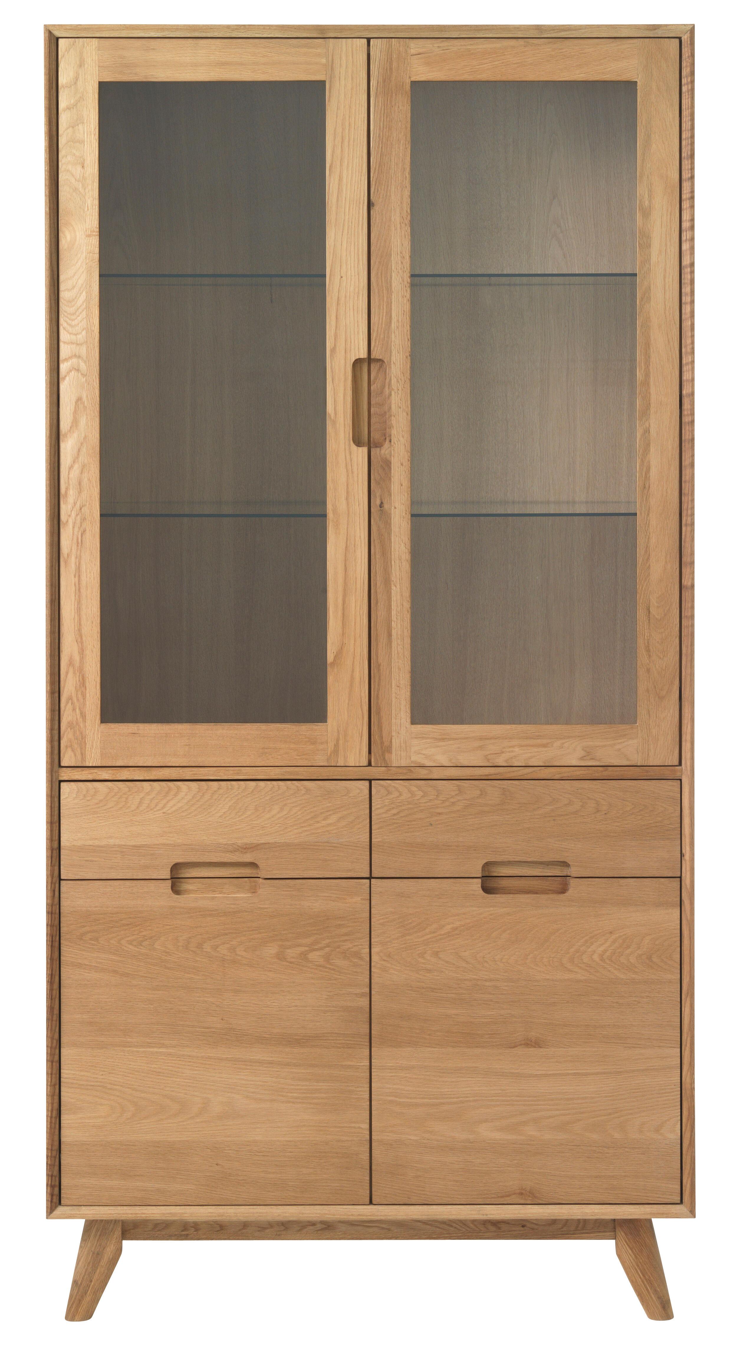 Rhoda vitrine med 2 glassdører og 2 tredører i massiv og finert eik med lakk.