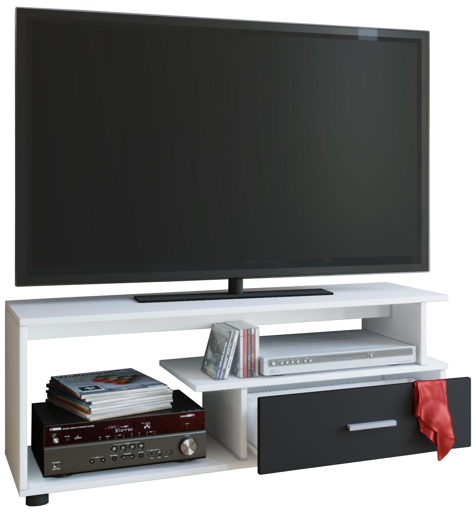 Rimini TV-møbel med 1 skuff og 2 hyllerhvit, svart.