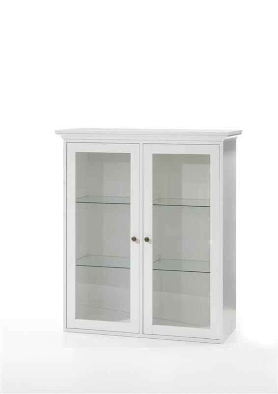 Venedig vitrine veggskap med 2 glassdører bredde 99 cm, høyde 112,5 cm hvit.