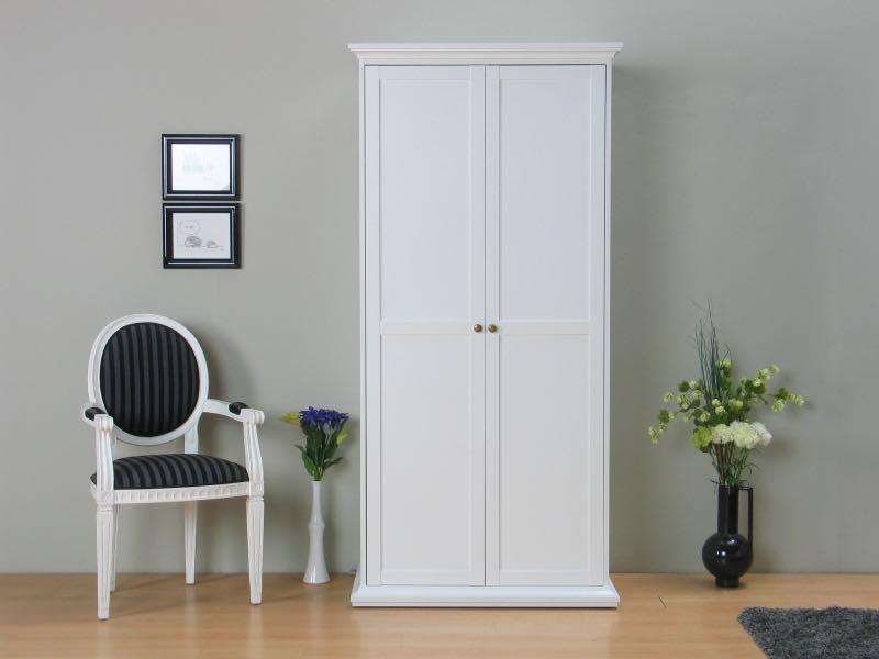Venedig garderobeskap 2-dørs bredde 96 cm, høyde 200 cm hvit.