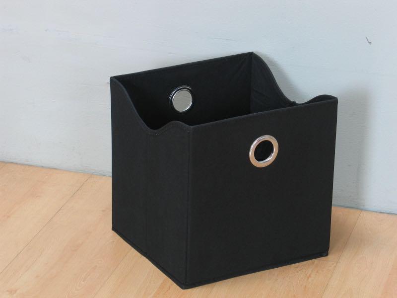 Marianne oppbevaringskasse, tekstil, bredde 31 cm, høyde 32 cm, svart.