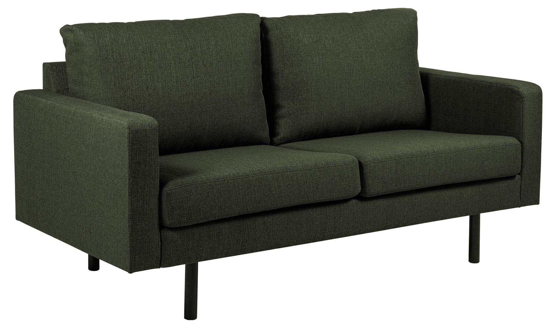 Chicago 2 -seters sofa med ben i svart metall. Grønnflaske