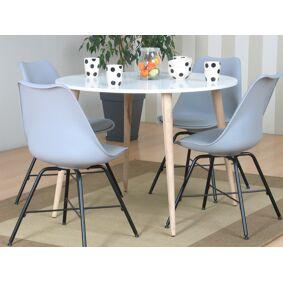 Napoli spisegruppe 106 med spisebord og 4 grå skallstoler.