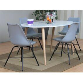 Napoli spisegruppe 806 med spisebord og 4 grå skallstoler.