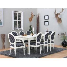 Amaretta spisegruppe 100x180/280 inkl. 2 tilleggsplate antikk hvit med 2+6 Rokokko stoler antikk hvit/svart.