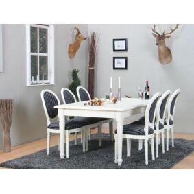 Amaretta spisegruppe 100x180/280 inkl. 2 tilleggsplate antikk hvit med 6 Rokokko stoler antikk hvit/svart.