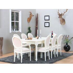 Amaretta spisegruppe 100x180/280 inkl. 2 tilleggsplate antikk hvit med 2+6 Rokokko stoler antikk hvit/beige.