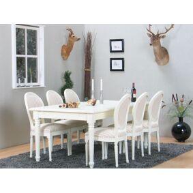 Amaretta spisegruppe 100x180/280 inkl. 2 tilleggsplate antikk hvit med 6 Rokokko stoler antikk hvit/beige.