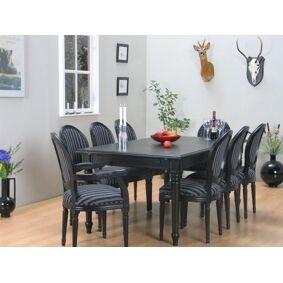 Amaretta spisegruppe 100x180/280 inkl. 2 tilleggsplate svart m 2+6 Rokokko stole antikk svart/svart.