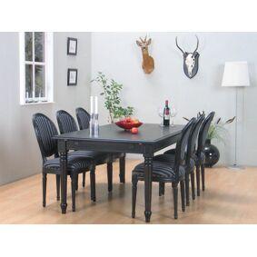 Amaretta spisegruppe 100x180/280 inkl. 2 tilleggsplater svart med 6 Rokokko stoler antikk svart/grå.