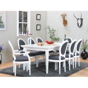 Venedig spisegruppe 95x180/276 inkl. 2 tilleggsplater hvit med 2+6 Rokokko stoler hvit/svart.