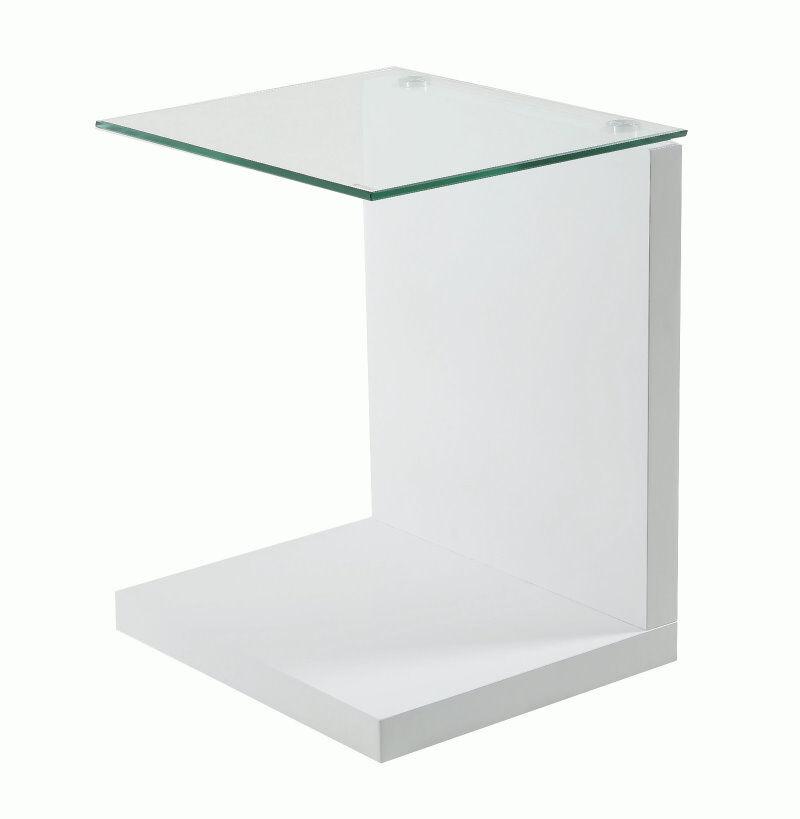 Tunis hjørnebord med glassplate og hvit høyglans med plass til oppbevaring.