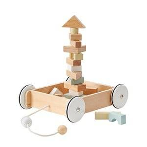 Kids Concept Pull Wagon with Wooden Blocks