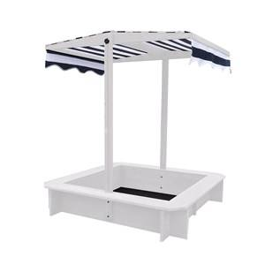 Oliver & Kids Square Sand Box with Canopy White/Navy