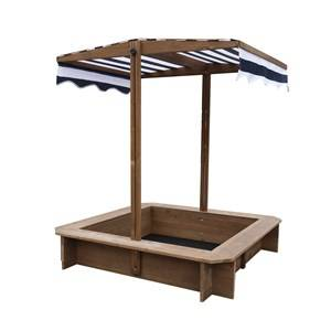 Oliver & Kids Square Sand Box with Canopy Brown/Navy