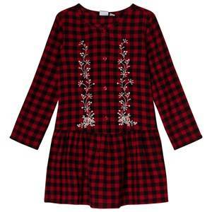 GAP Berry Red Plaid Embroidered Dress S (6-7 r)