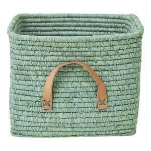 Rice Small Square Raffia Basket with Leather Handles Mint