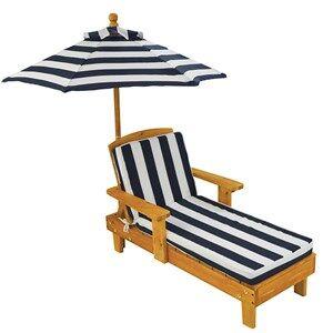 KidKraft Outdoor Chaise With Umbrella in Navy