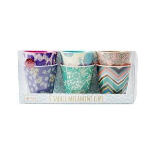 Rice 6-Pack Small Melamine Cups Life is Better in Color Prints