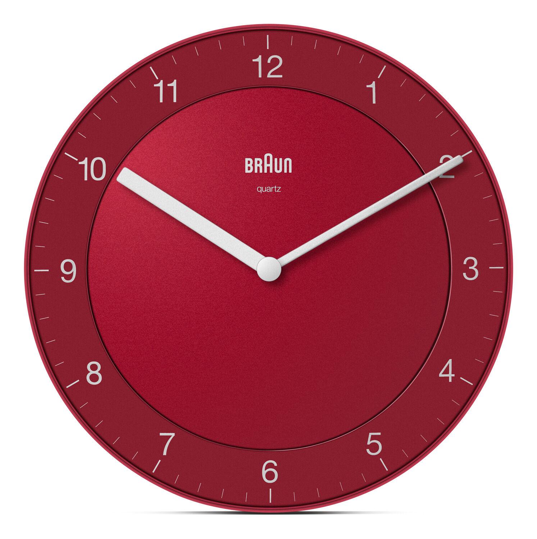 Braun Rød veggklokke fra Braun (lydløs) - Braun Wall Clock BC06R